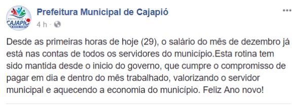 PREFEITURA DE CAJAPIÓ ANTECIPA SALÁRIO DE DEZEMBRO E REFORÇA COMPROMISSO COM OS SERVIDORES
