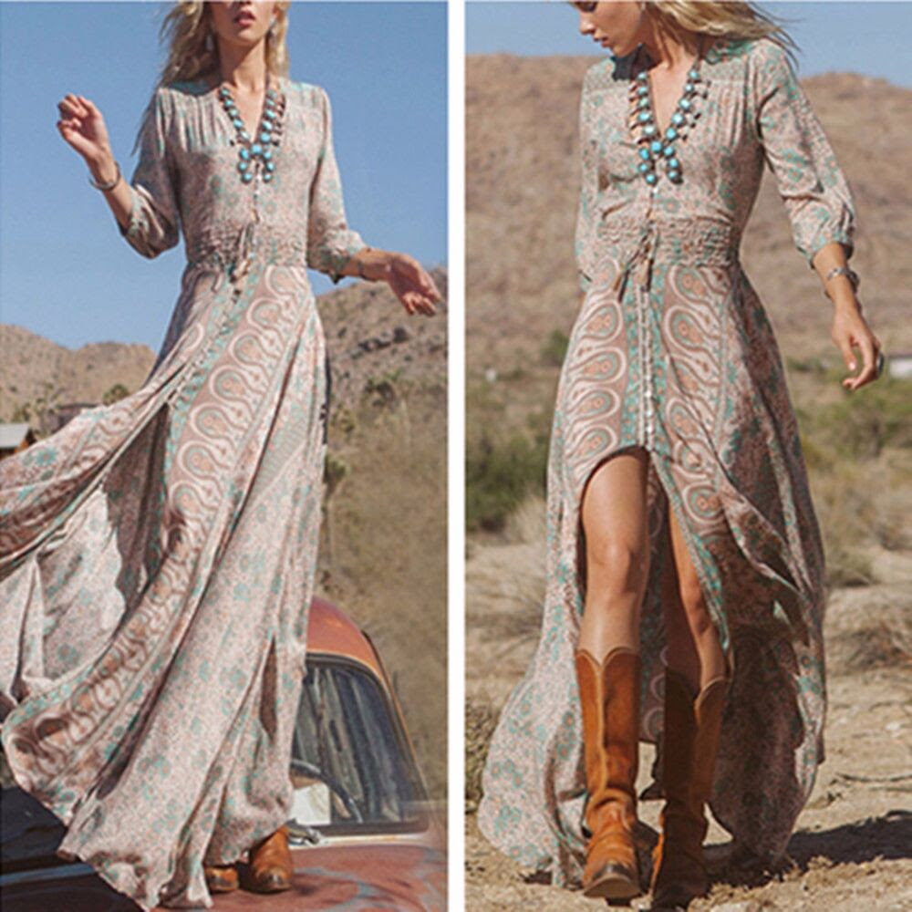 women boho hippie gypsy ethnic v summer party beach long