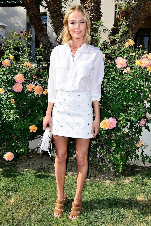 Le Fashion Blog Kate Bosworth White Equipment Knox Lace Up Top Embellished Skirt Matisse Suede Sandals Garden Party Summer Style Via Zimbio