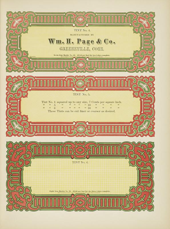 Specimens of chromatic wood type, borders 1874 - [via Columbia U] (border cards)