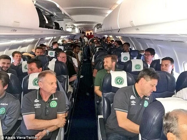 The Chapecoense football team are pictured here on a plane