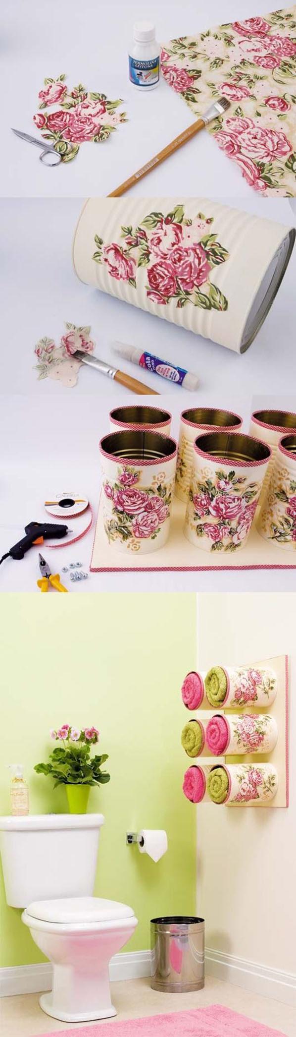 Toallero hecho de latas de conserva