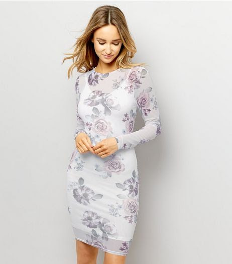 Dress white floral sleeve bodycon long