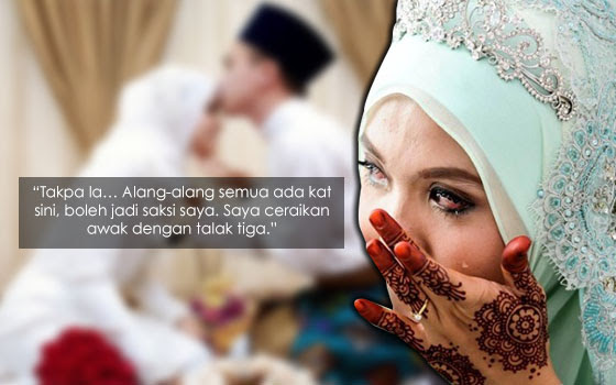Tak Sampai Sejam Nikah, Wanita Ini Diceraikan Talak Tiga Depan Orang Ramai