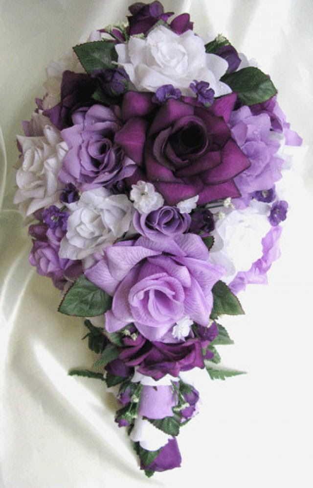 Free Shipping Wedding Bouquet Bridal Silk Flowers Cascade Plum PURPLE LAVENDER WHITE Decorations