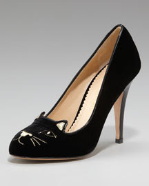 Charlotte Olympia Cat-Face Velvet Pump