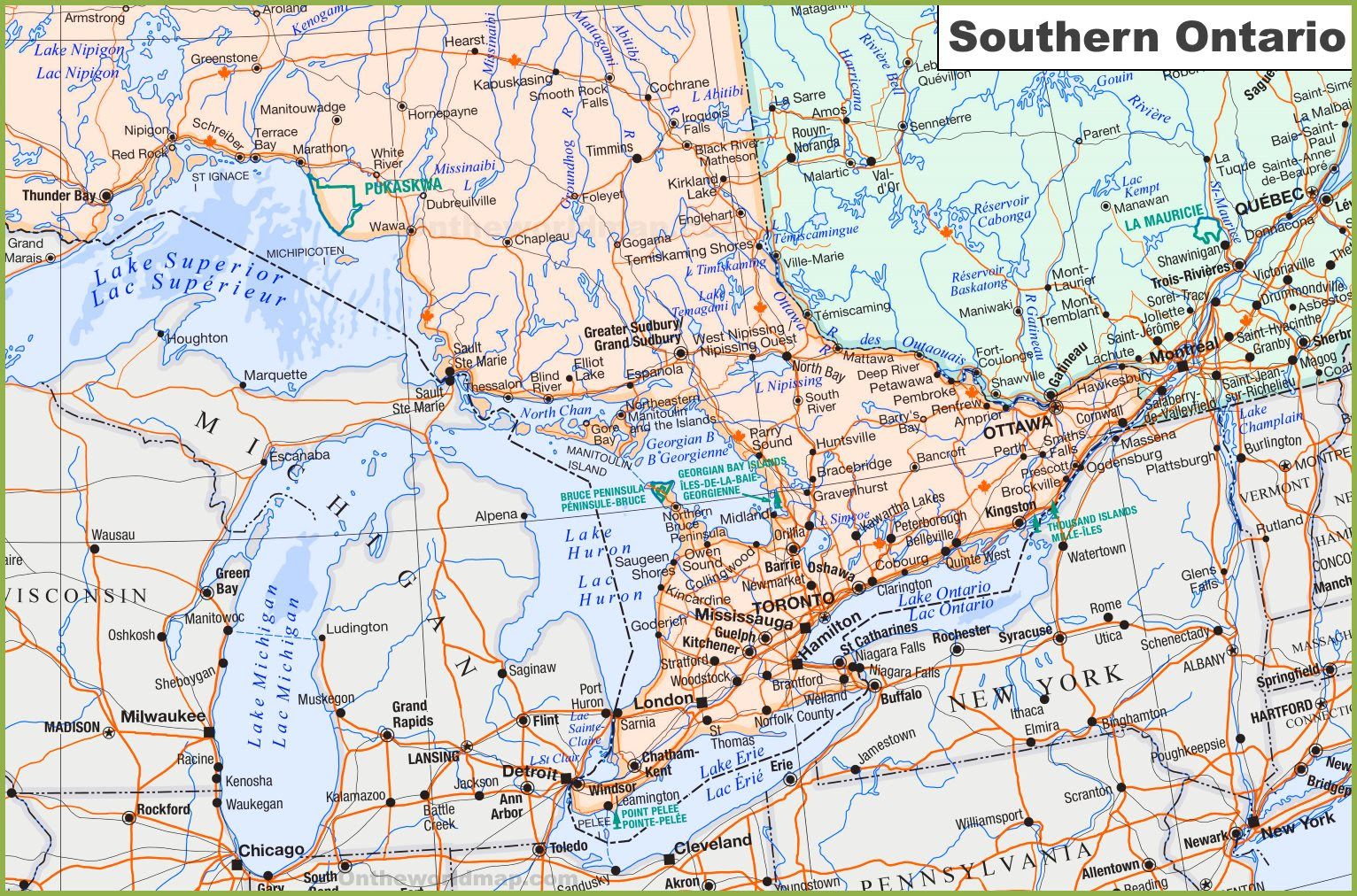 Southwestern Ontario Map Southwestern Ontario Map | Color 2018