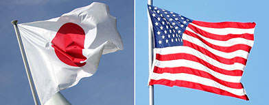 Japanese and U.S. flags (L-R) Japanese flag (MJ Kim/Getty Images); US flag (Scott Boehm/Getty Images)