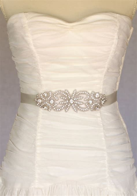 Bella bridal belt sash, wedding dress sash, rhinestone