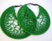 Green Crochet earrings - jamiesondesigns