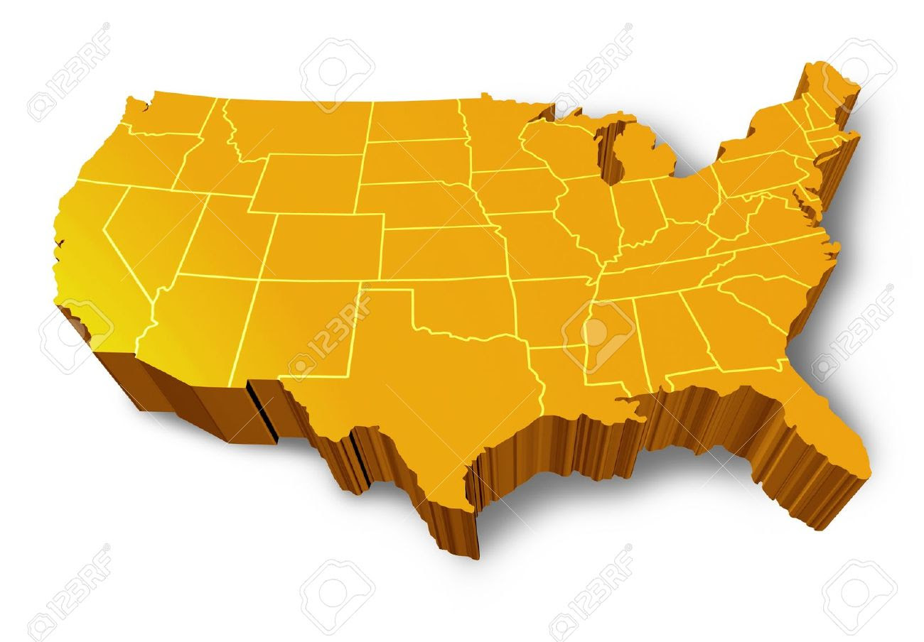 3 Dimensional Map Of The United States