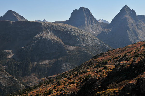 Monitor Peak, Windom Peak, Sunlight Spire, Sunlight Peak, Vestal Peak, Mount Eolus and Arrow Peak in the Weminuche Wilderness