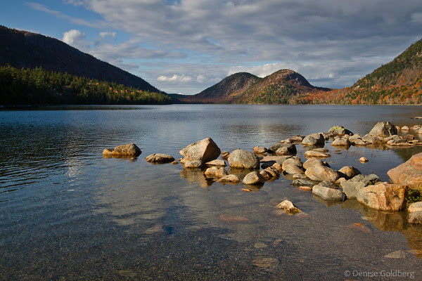 Jordan Pond on a blue skies decorated with white clouds afternoon