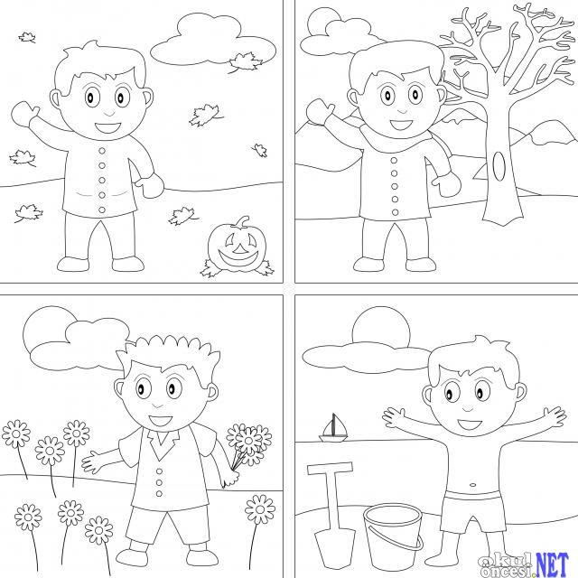 Komik Fipixde Sonbahar Kış Ilkbahar Yaz Boyama Sayfaları Okul