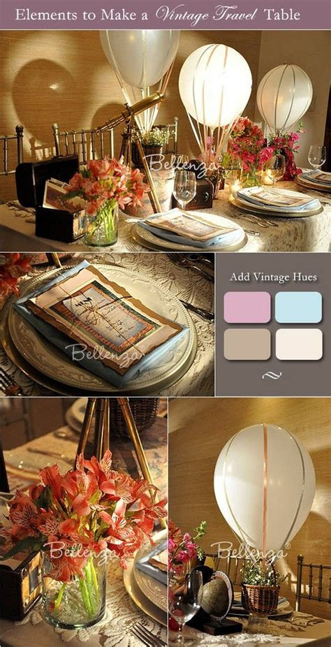 Table decorations for a vintage travel theme.   Home Decor