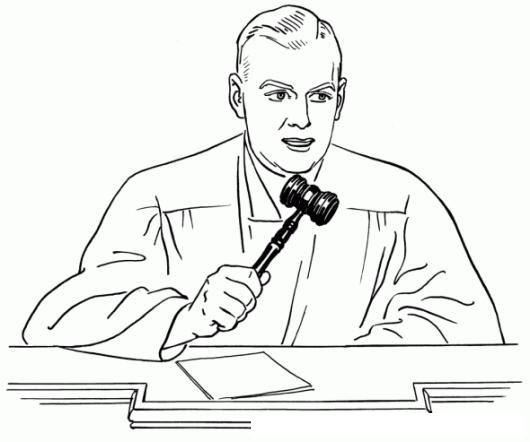 Dibujo De Juez Dando Su Veredicto Con Su Martillo De La Justicia
