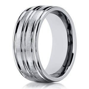 Men's Designer 8mm Engraved and Polished Finish 14k White