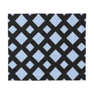 Light Blue Diamonds on Black Fleece Blanket