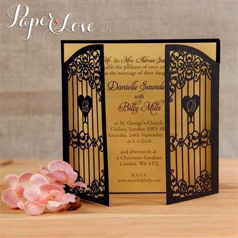 Black Personalised Handmade Gate Fold Wedding Stationary