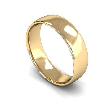 9ct Yellow Gold 6mm Wide Lightweight Slight Court Profile