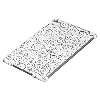 Hand-Painted Black Curvy Pattern on White iPad Air Cases