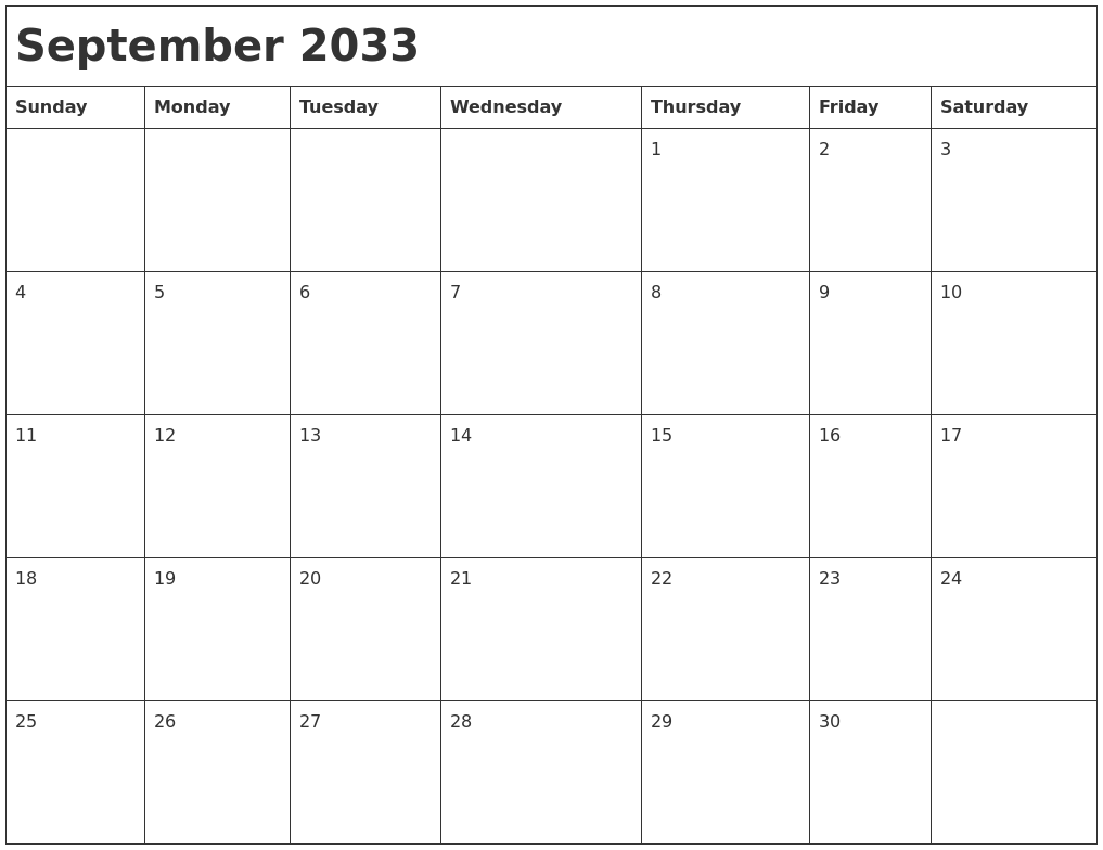 september 2033 month calendar full weekday