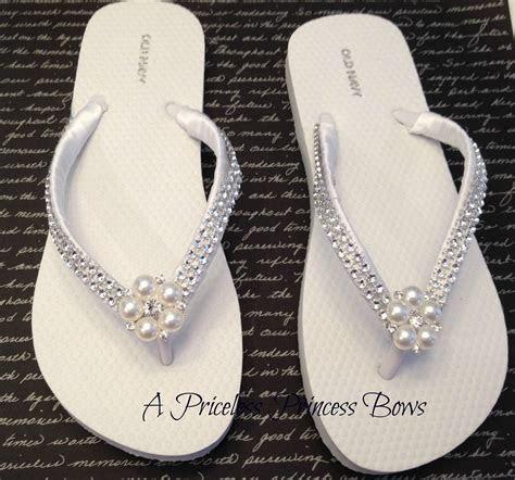 White Satin Wedding Pearl & Bling Flip Flops Womens Bridal