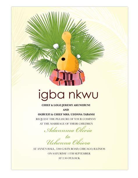 Nigerian Traditional wedding invitation Card, Igbo