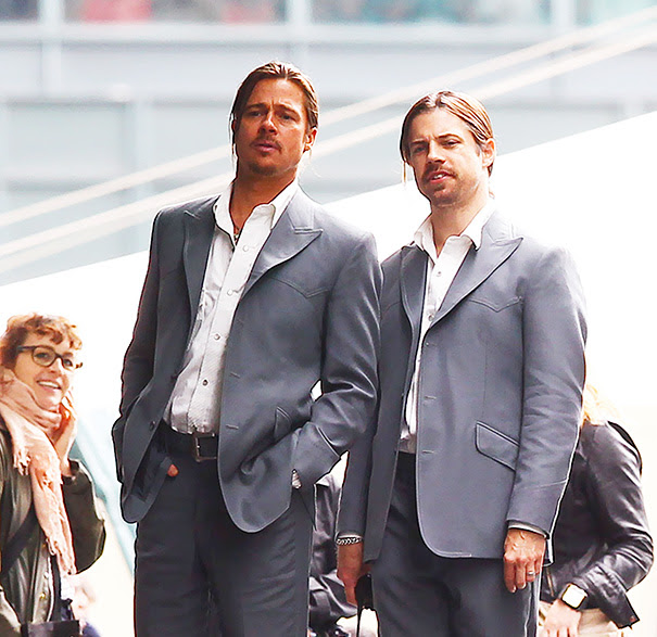 Brad Pitt With His Stunt Double On The Set Of The Counselor