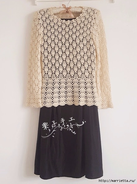 White openwork crochet blouse.  Schemes (1) (450x603, 168Kb)