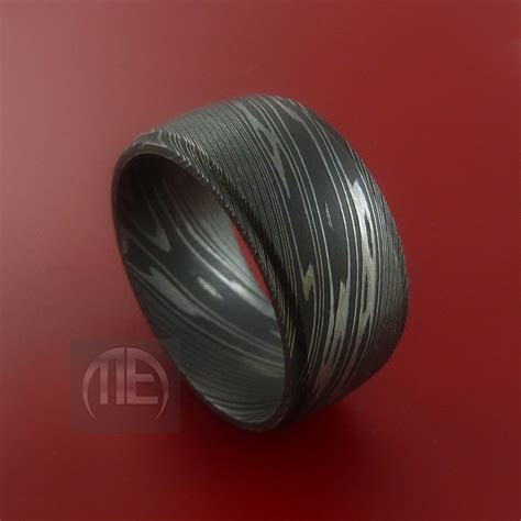 Wide Damascus Steel Ring Wedding Band Genuine