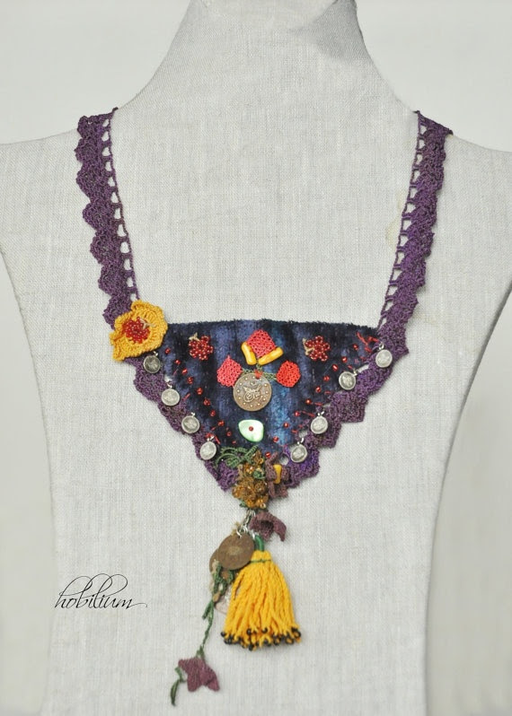crochet necklace collar necklace velvet jewelry trends by hobilium, $24.00