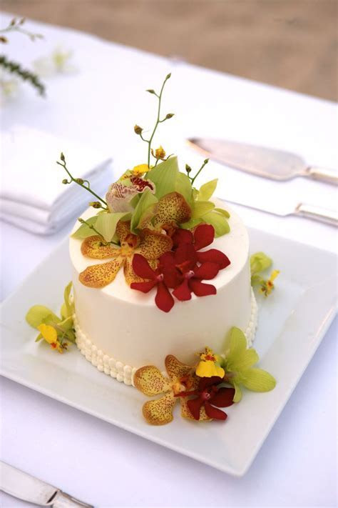 Single tier wedding cake with tropical orchid accents