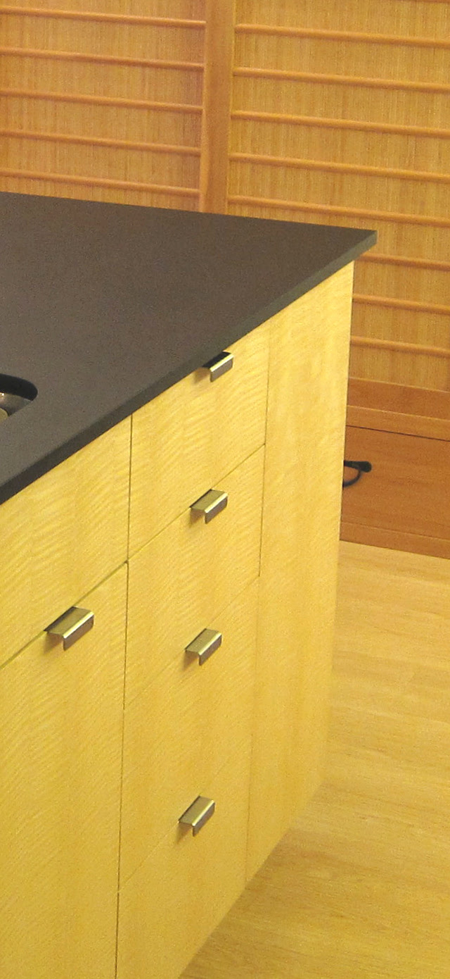 The Apartment Kitchen with Ash Veneer Cabinets, Solid Ash Bar