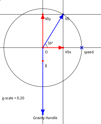 The initial velocity and the gravity vector