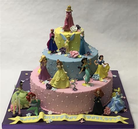 3 Tier Disney Princess Cake with Quilting and Flowers