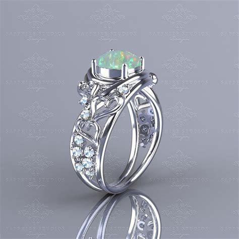 Novella 1.38ct Opal White Gold Heart Engagement Ring