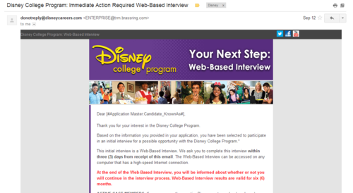 Disney College Program Web Based Interview