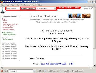 Parliament, Chamber Business, bad navigation design