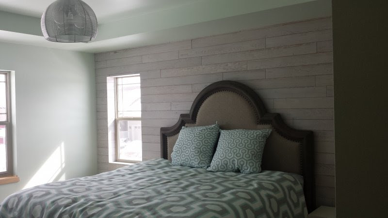 Wood Accent Wall in Master Bedroom - Time 2 Remodel, LLC.