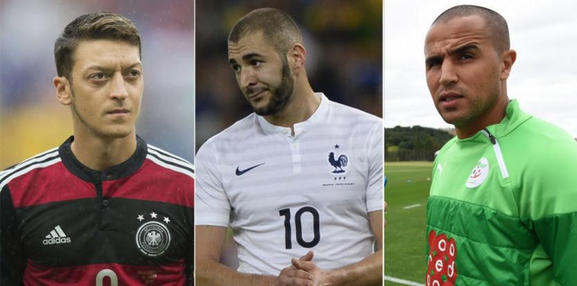 Le meneur de jeu allemand Mesut Özil, le Français Karim Benzema et le défenseur algérien Madjid Bougherra.