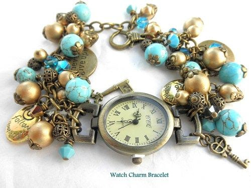 Turquoise, Gold Timepiece Watch Charm Adjustable Bracelet | jnldesigns - Jewelry on ArtFire