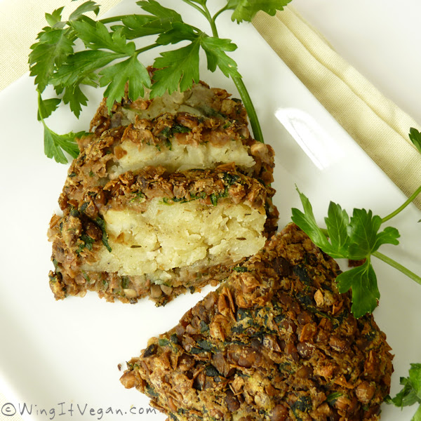 Vegan Roast Dinner Lentil and Mushroom Loaf with Savoury Potato Filling