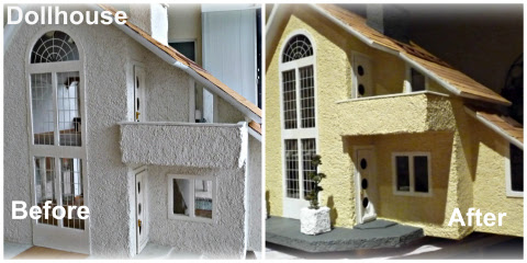 yellow dollhouse before and after