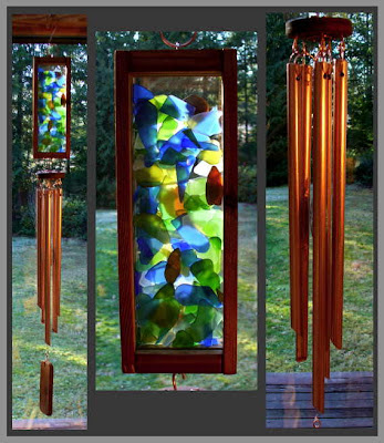 windchime, wind chime, sea glass, beach glass, copper, art chime