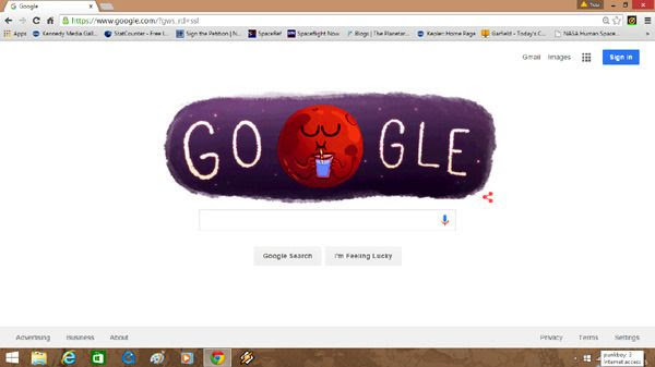 A screenshot of the Google homepage with the Mars Google doodle on it.