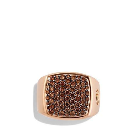 David Yurman Pavé Signet Ring with Cognac Diamonds in Rose