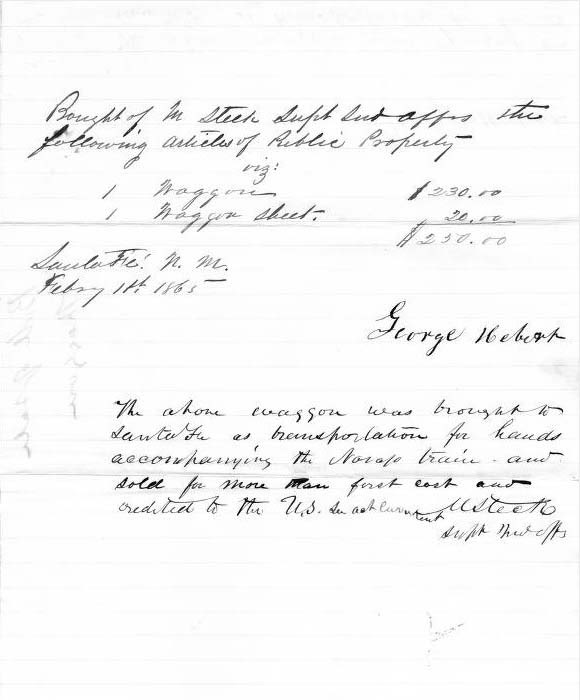 1865 Receipt for Sale of Wagon | NewMexico.ImagePast