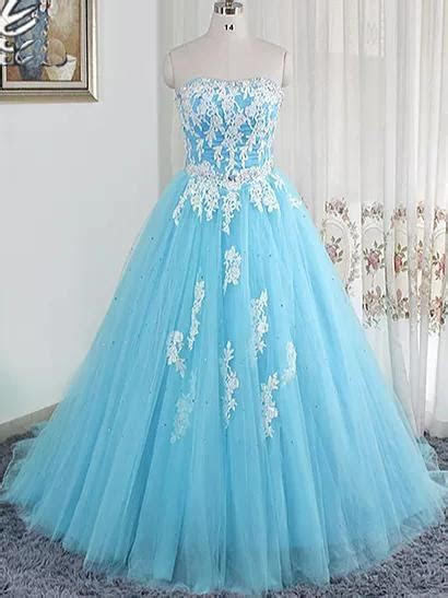 Ball Gown Prom Dresses Sweetheart Short Train Light Sky
