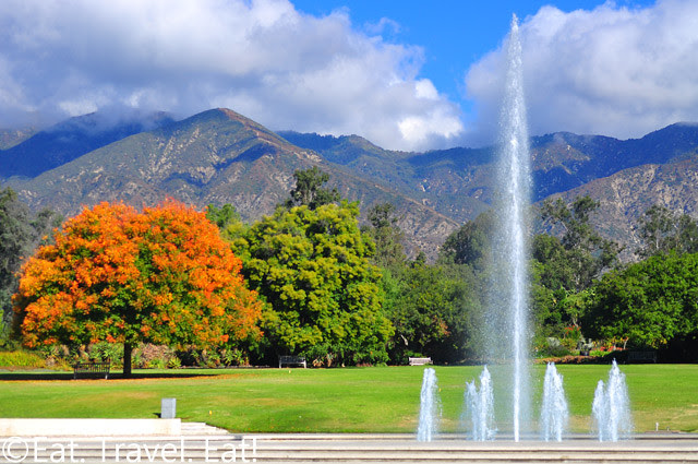 Los Angeles County Arboretum and Botanic Garden- Arcadia, CA: Bauer Lawn and Fountain